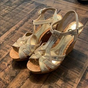 Brand New Never Worn Gold wedges